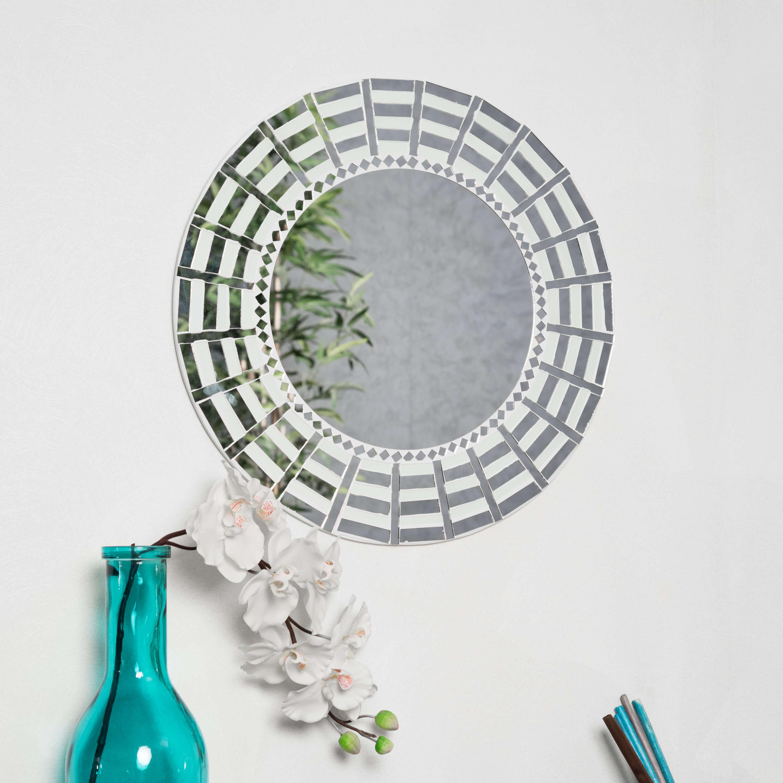 Miroir mosaique design blanc argent 50cm salon chambre for Miroir salon blanc