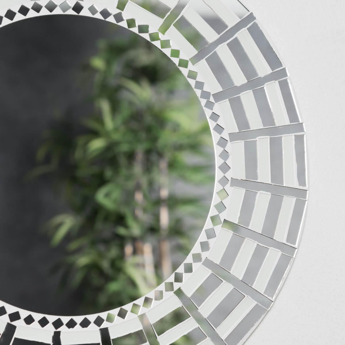 Neuf miroir mosaique design blanc argent 50cm salon chambre for Miroir salon blanc