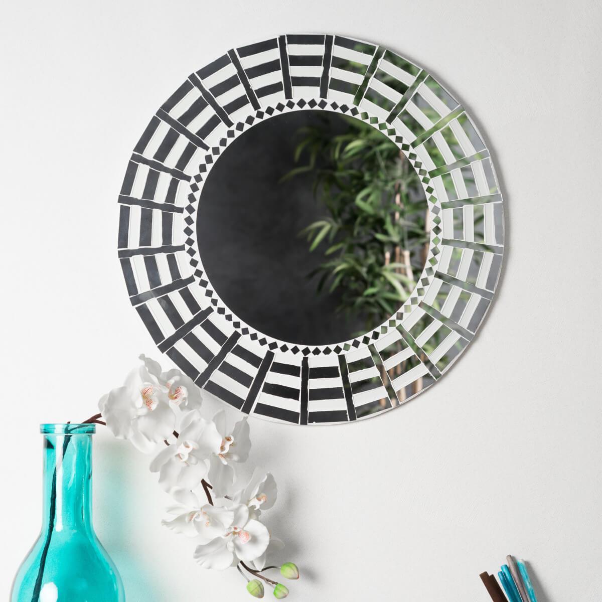 Neuf miroir mosaique design blanc argent 50cm salon chambre for Miroir mosaique design