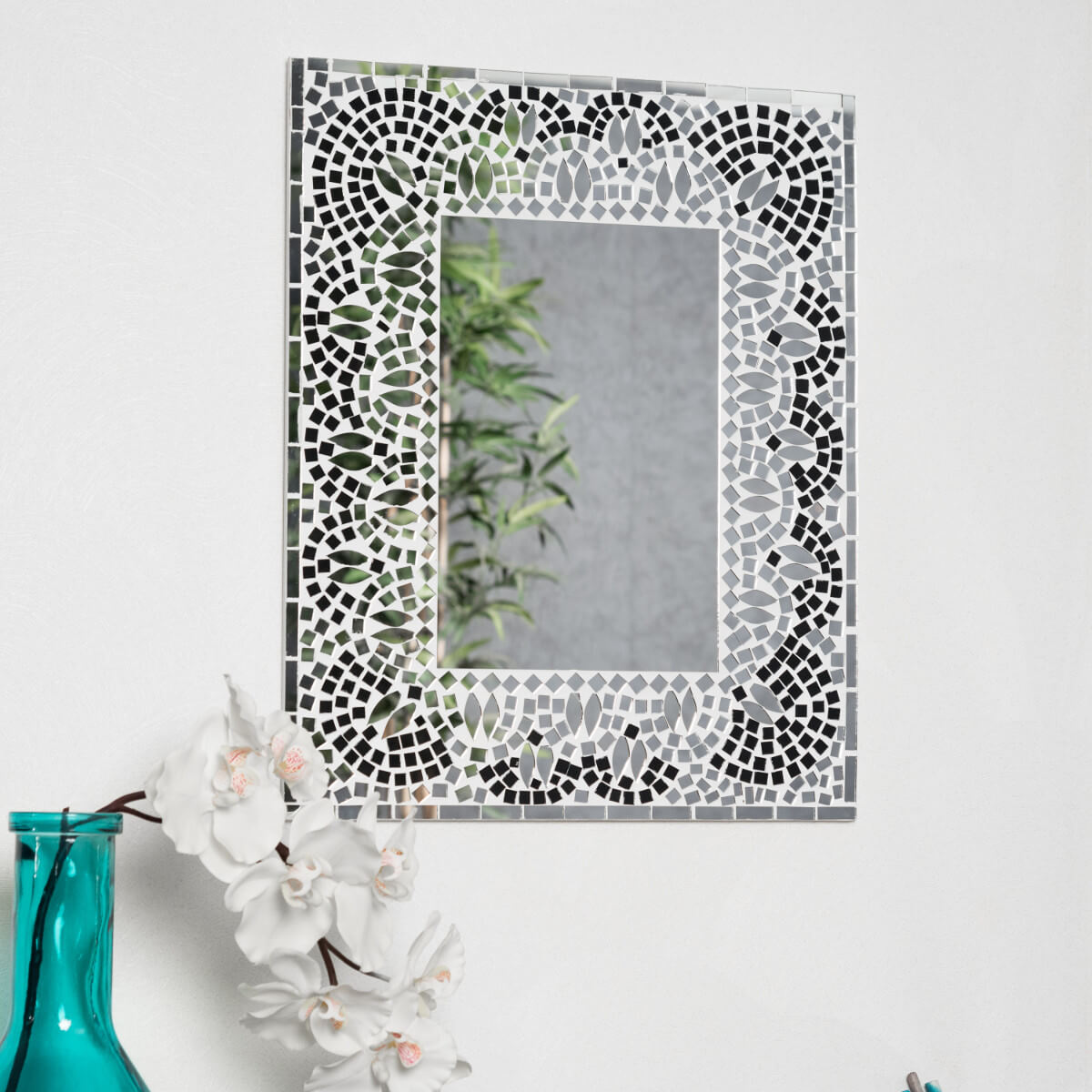 Miroir mosaique design noir et blanc 40cm x 50cm salon chambre for Miroir design salon