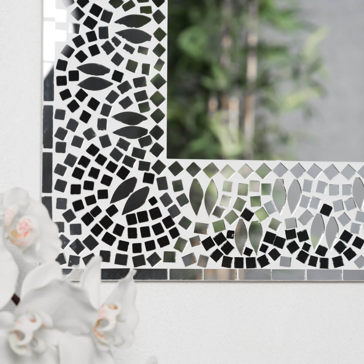 Neuf miroir mosaique design noir et blanc 40cm x 50cm for Miroir mosaique design