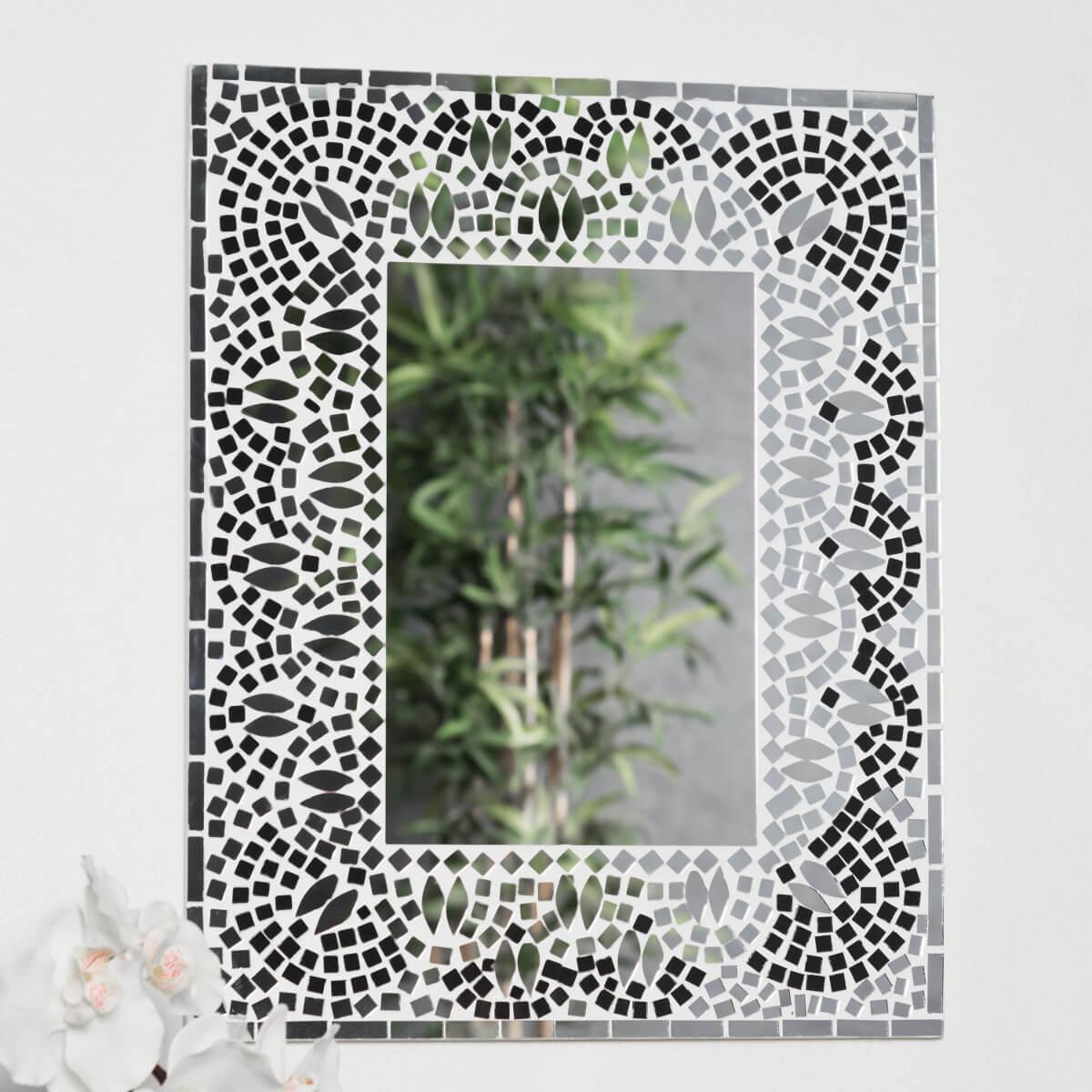 miroir mosaique design noir et blanc 40cm x 50cm salon chambre