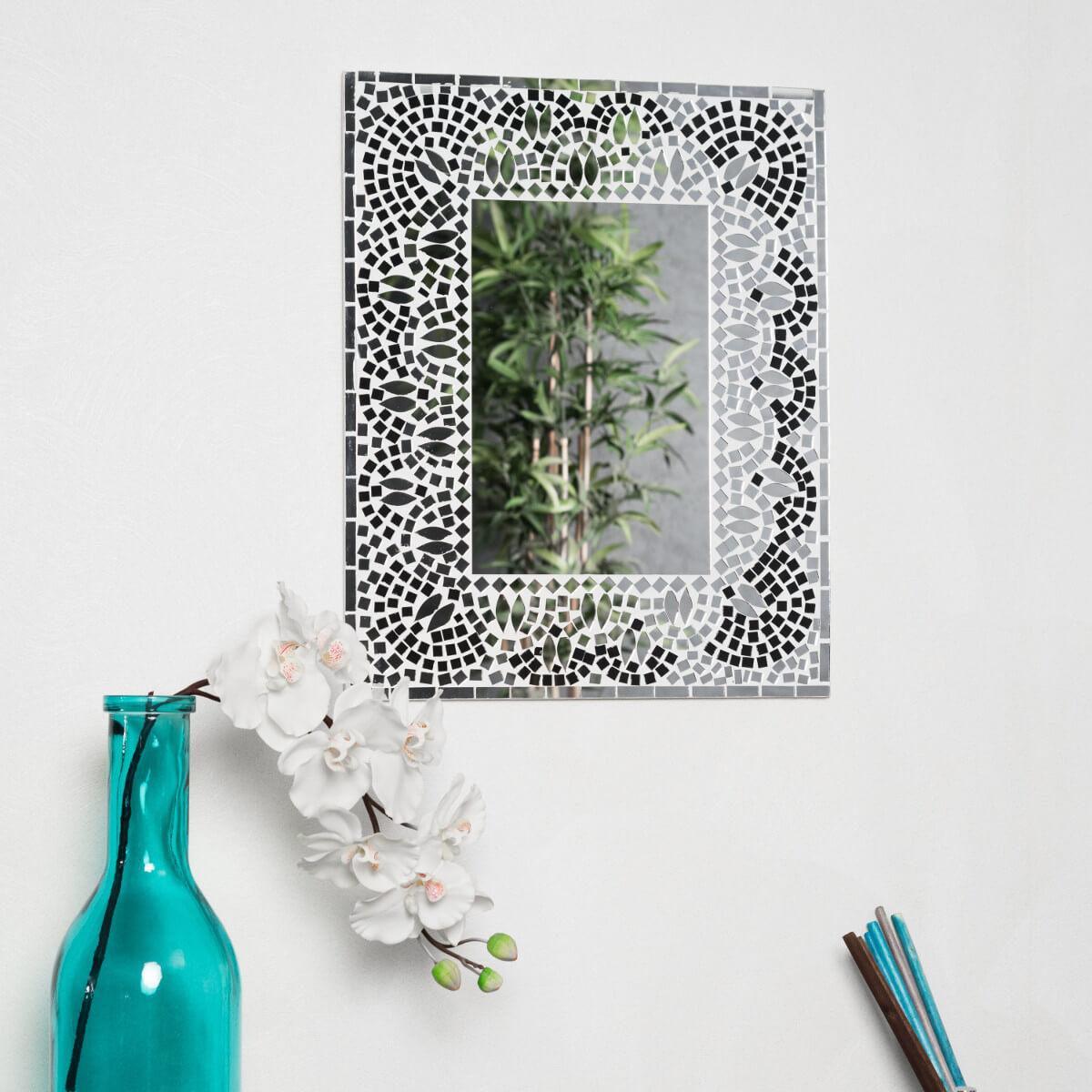 Miroir mosaique design noir et blanc 40cm x 50cm salon chambre for Miroir chambre