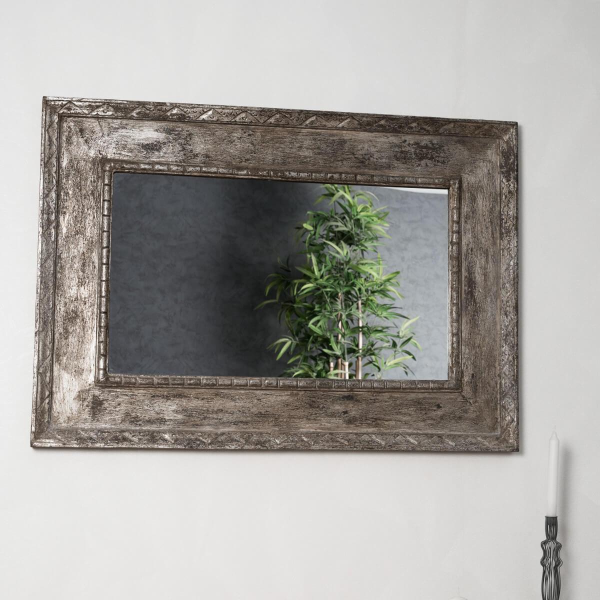 Miroir palerme en bois patin bronze c rus 100cm x 70cm for Peinture effet miroir