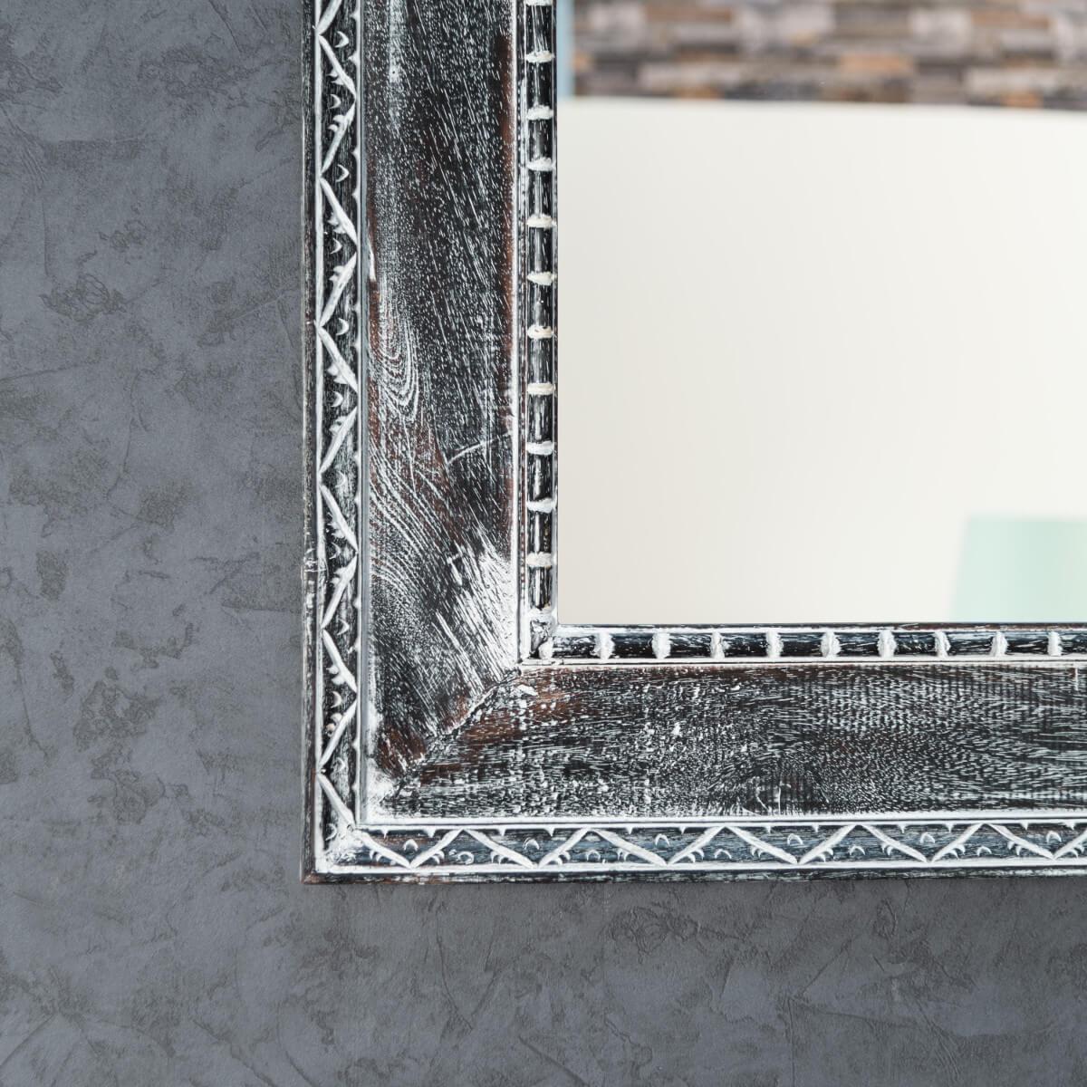 Miroir palerme en bois patin gris c rus 100cm x 70cm for Miroir bois ceruse
