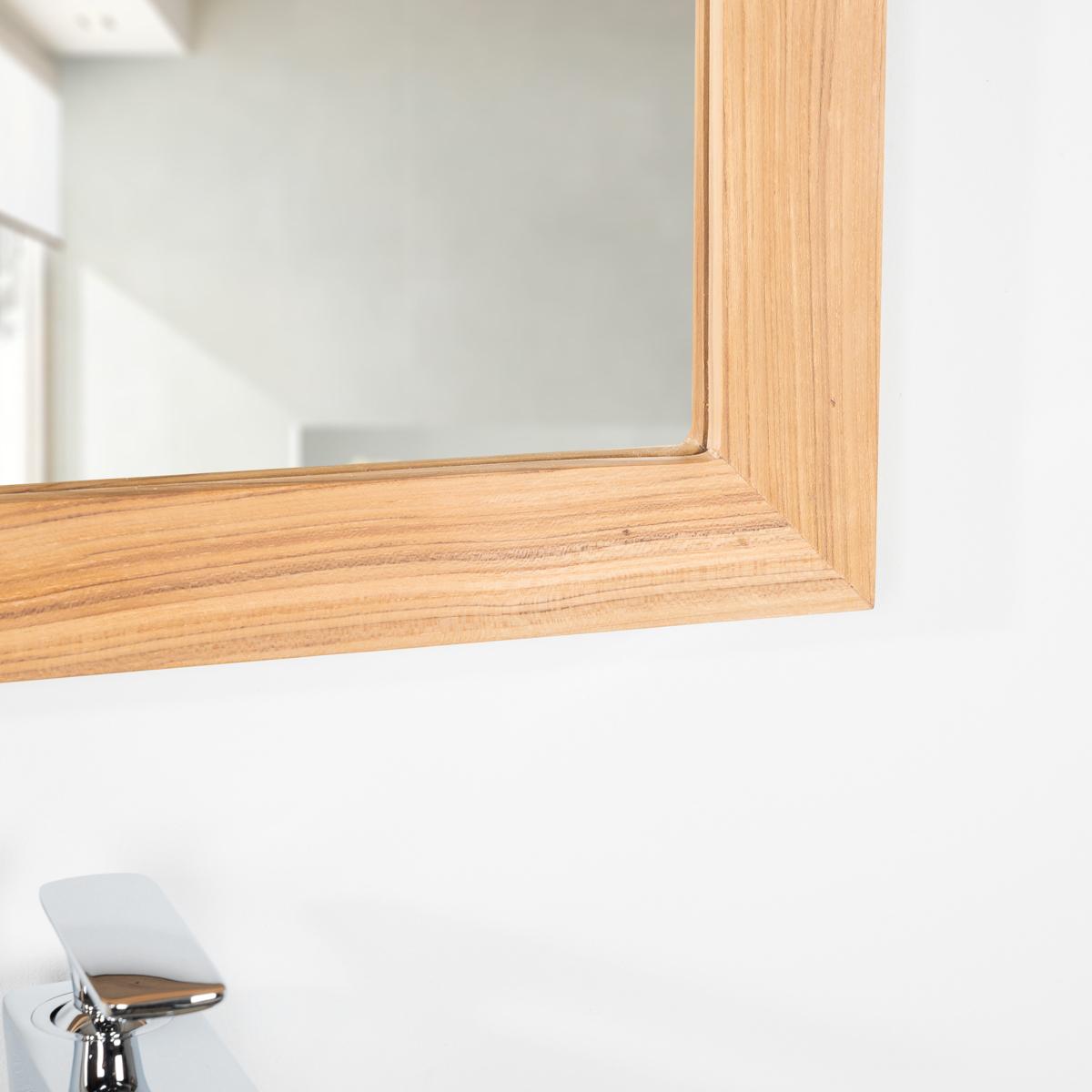 Neuf miroir rectangle en teck massif 70x50 ebay for Miroir bois 50 x 70