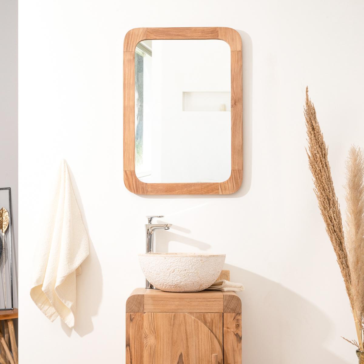 Miroir de salle de bain + tablette en bois massif (teck) : Bologne ...