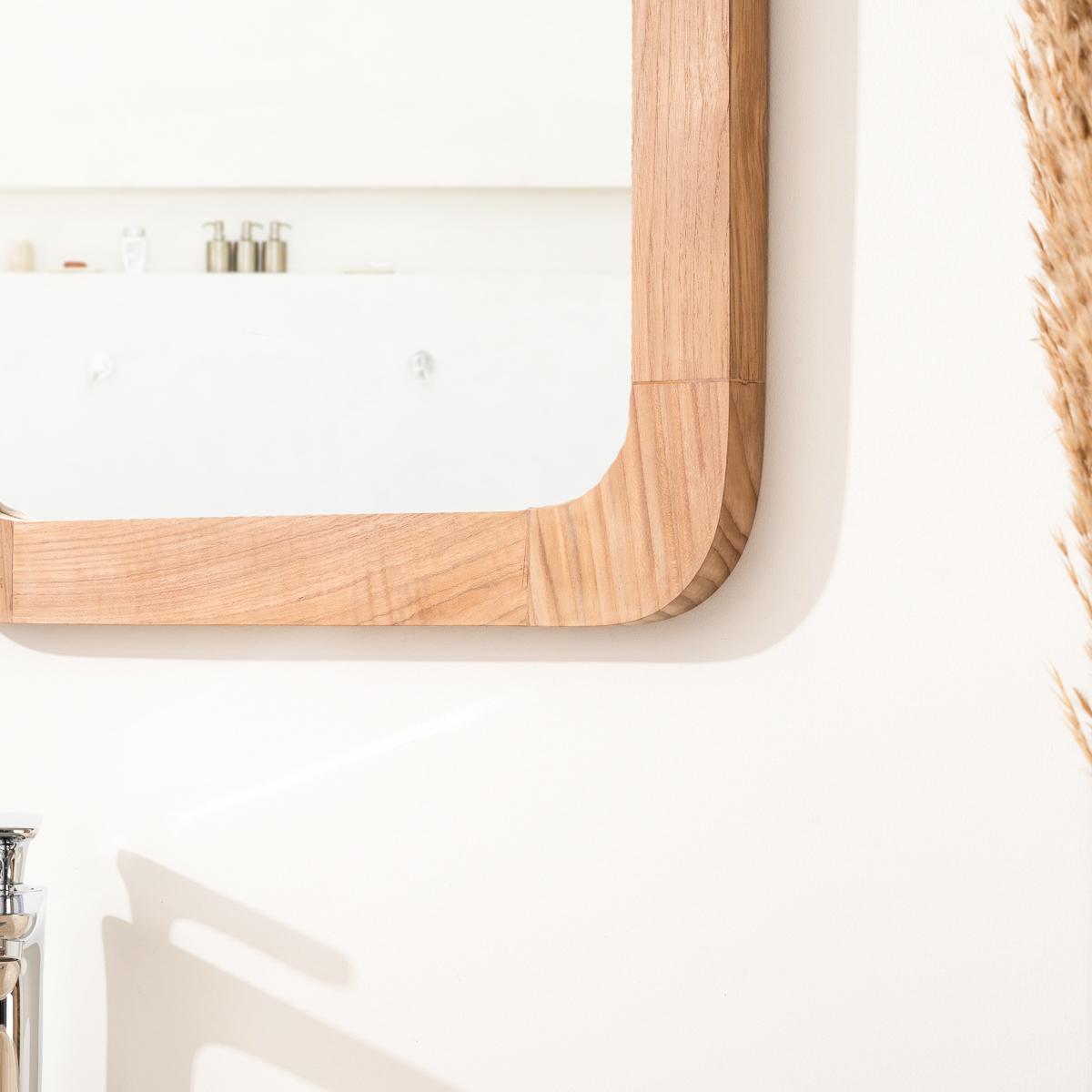 Neuf miroir r tro en teck massif 70 cm x 50cm for Miroir bois 50 x 70