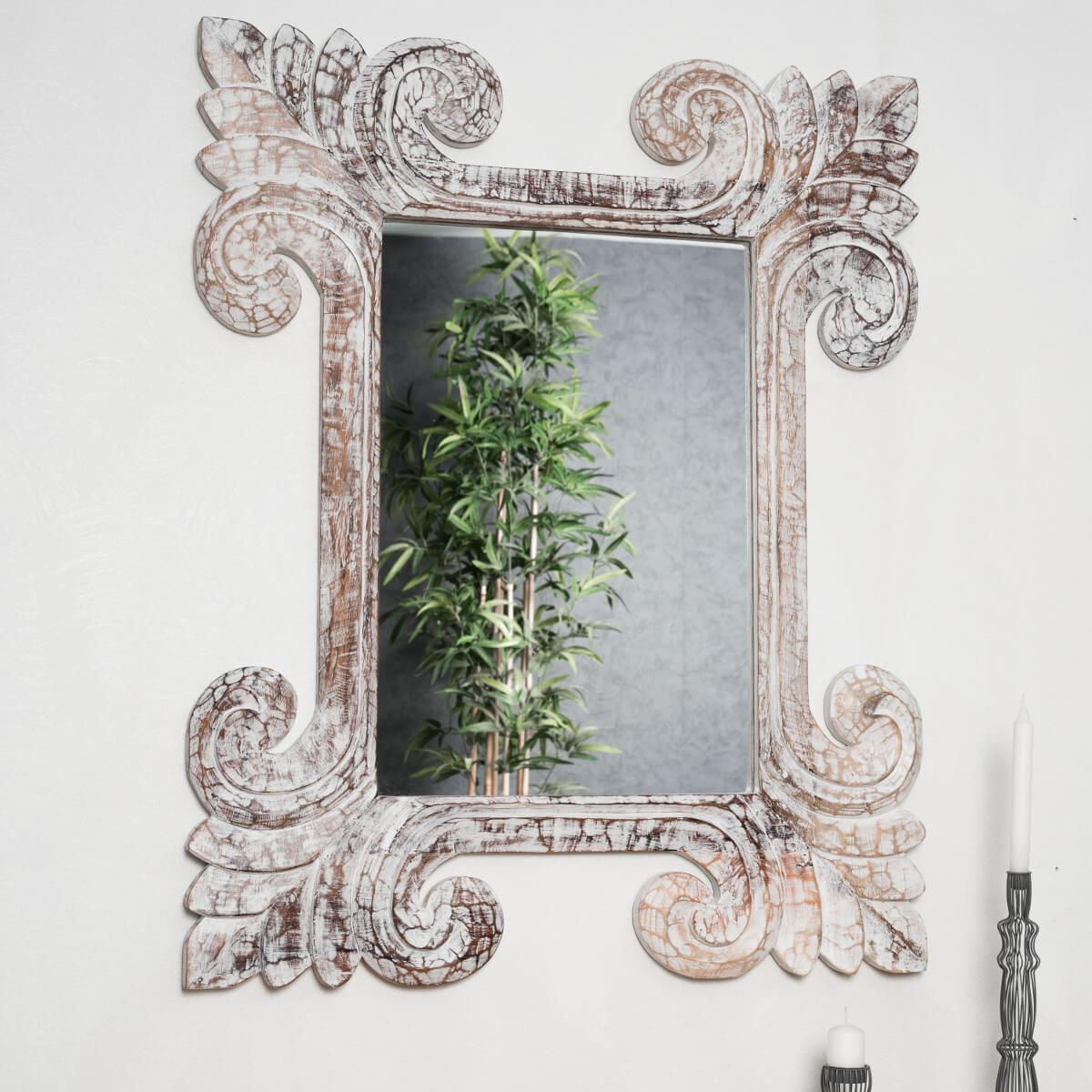 miroir de d coration en bois massif tol de rectangulaire bois patin c rus blanc d 80 x. Black Bedroom Furniture Sets. Home Design Ideas