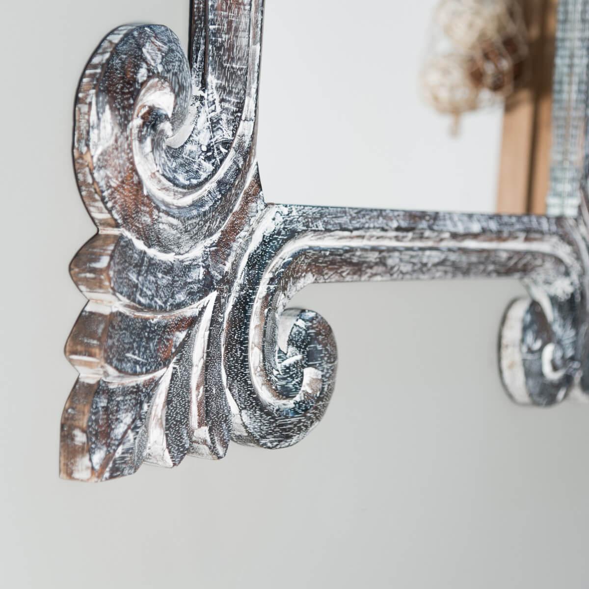 Miroir de d coration en bois massif tol de for Miroir baroque gris