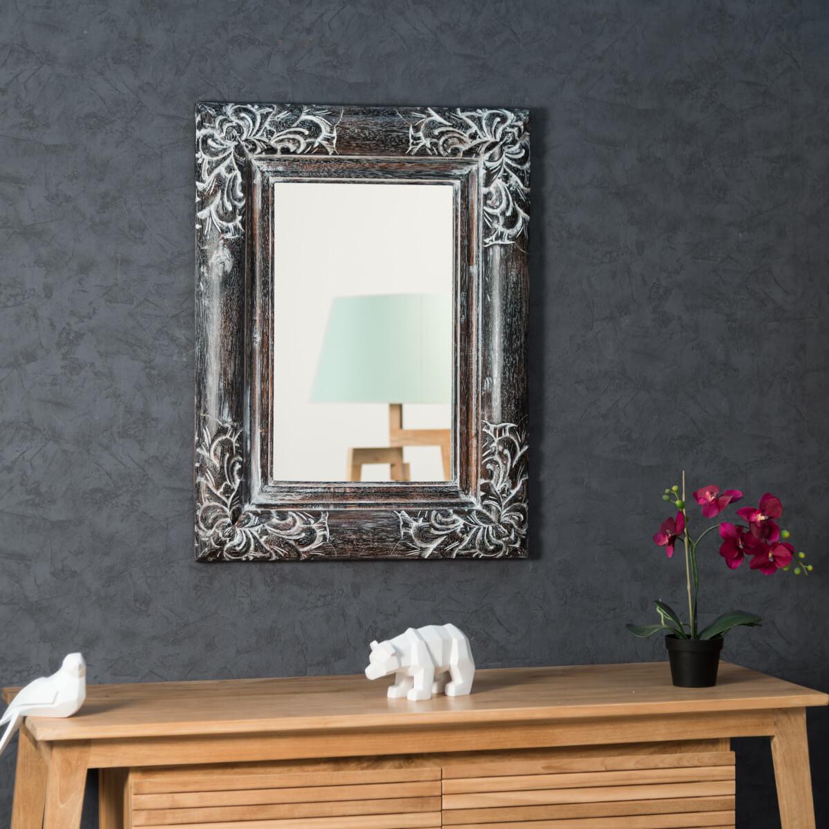 Miroir Valence En Bois Patin 60 X 80 C Rus Gris