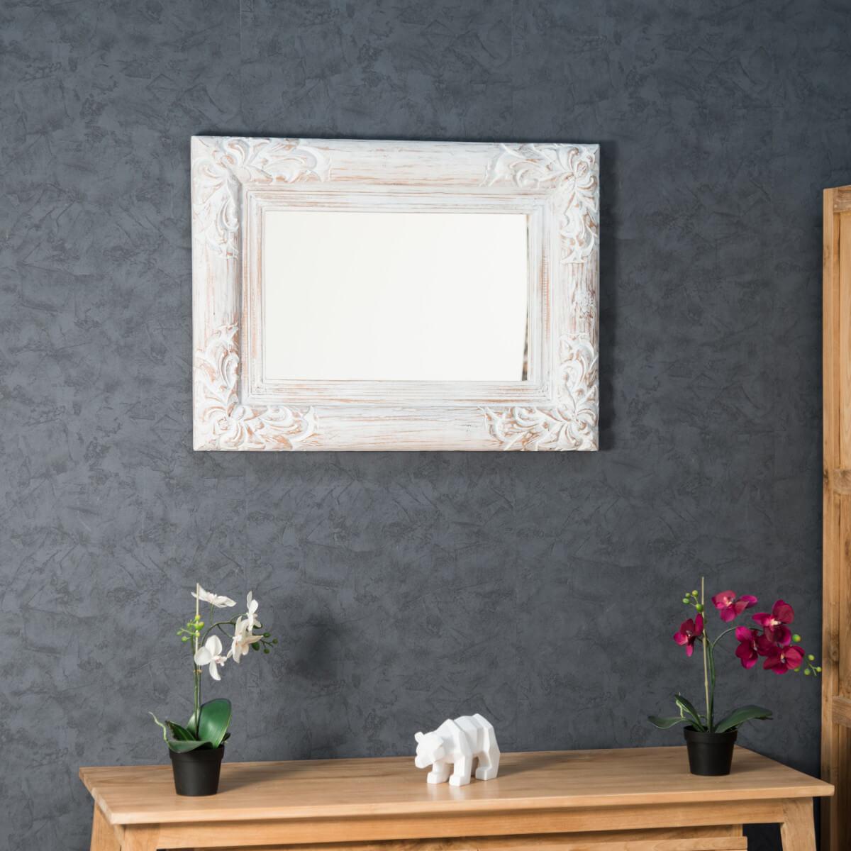 Miroir de d coration en bois massif valence rectangulaire bois patin c rus blanc d 60 - Meuble valence ...