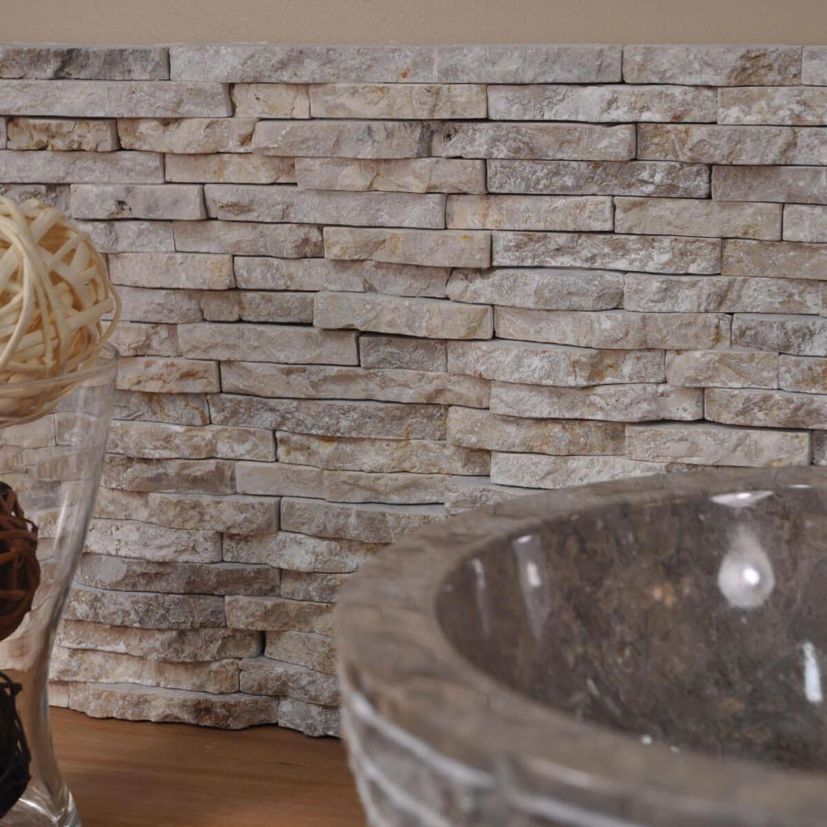 Parement en pierre naturel marbre brut cr me - Parement en pierre naturelle ...