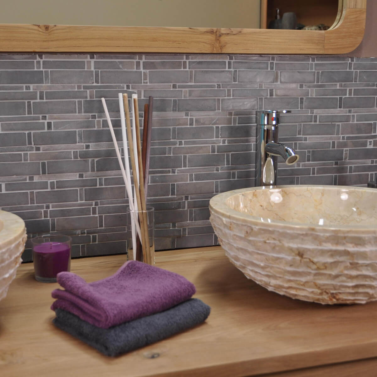 Parement mosa que en marbre naturel gris for Mosaique marbre salle de bain