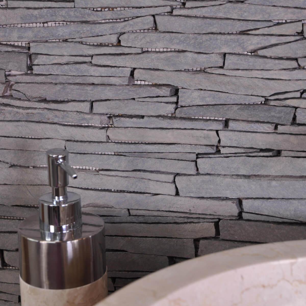 Parement pierre ardoise naturelle grise for Parement gris exterieur