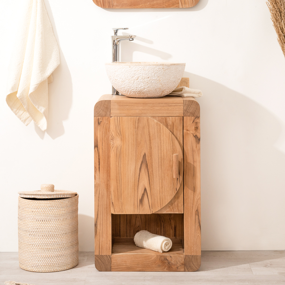 Meuble sous vasque simple vasque en bois teck massif contemporain rectangle naturel l for Petit meuble salle de bain