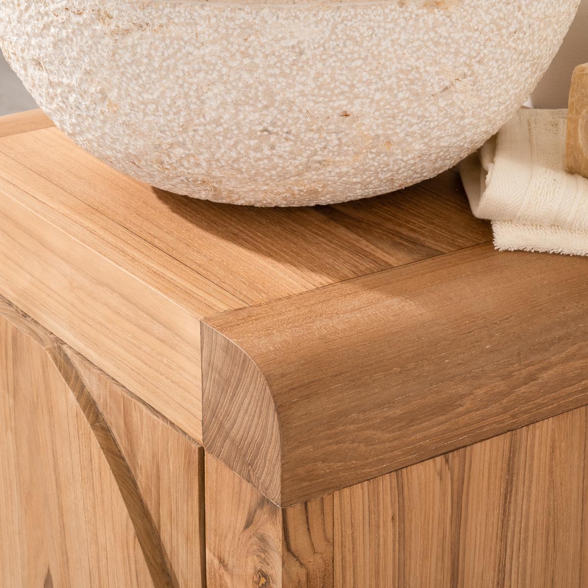 Meuble sous vasque simple vasque en bois teck massif for Petit meuble bois brut