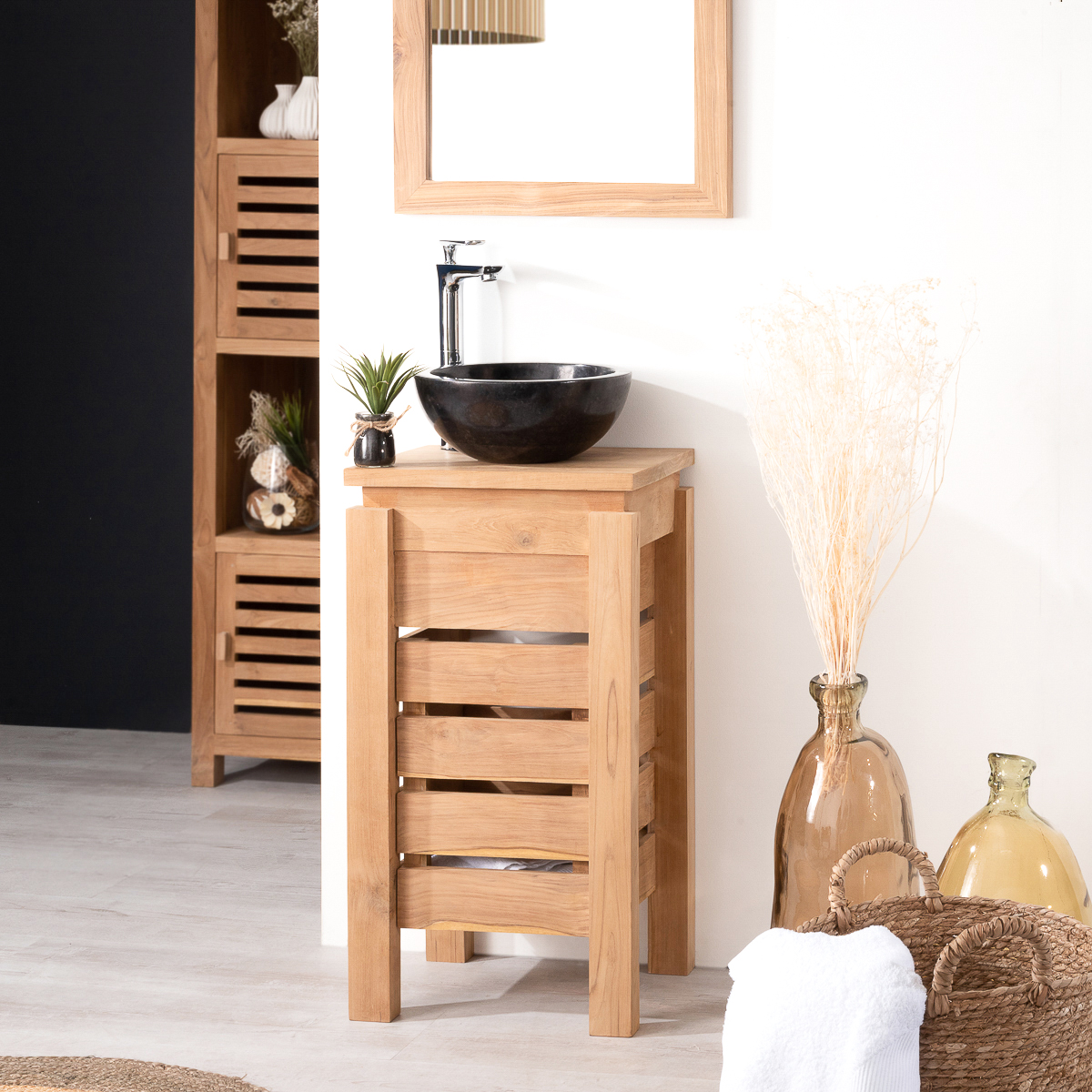 Meuble sous vasque simple vasque en bois teck massif zen rectangle naturel l 40 cm for Meuble de salle de bain en solde