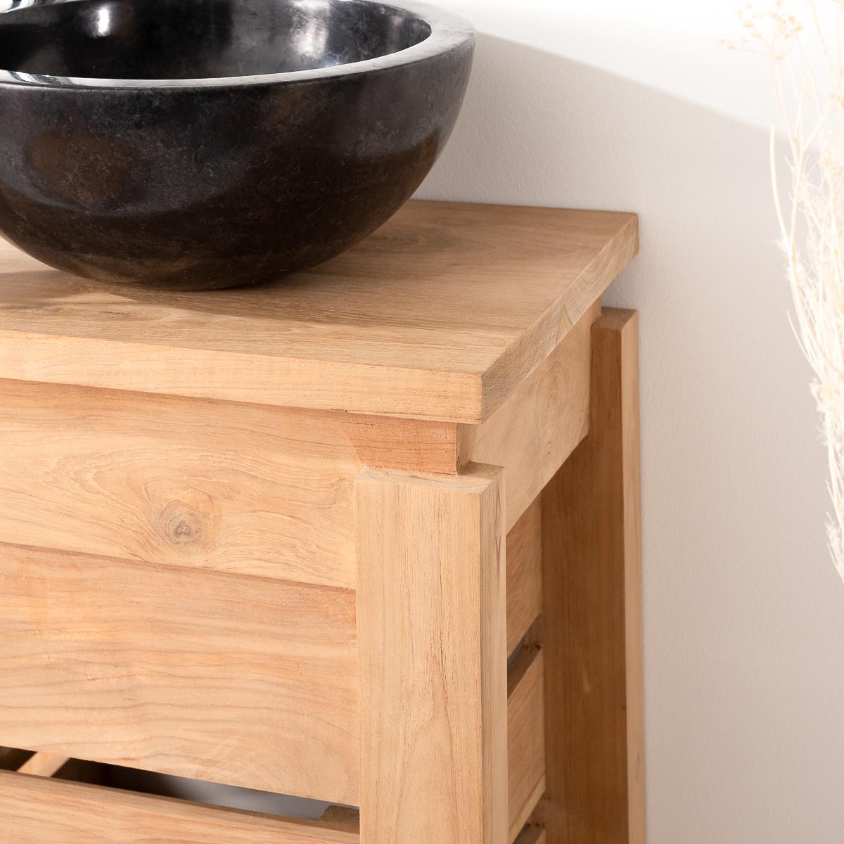 Meuble sous vasque simple vasque en bois teck massif zen rectangle naturel l 40 cm - Petit meuble vasque salle de bain ...