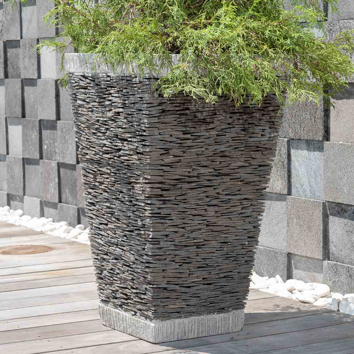 pot de jardin en ardoise carr naturel h 80 cm. Black Bedroom Furniture Sets. Home Design Ideas