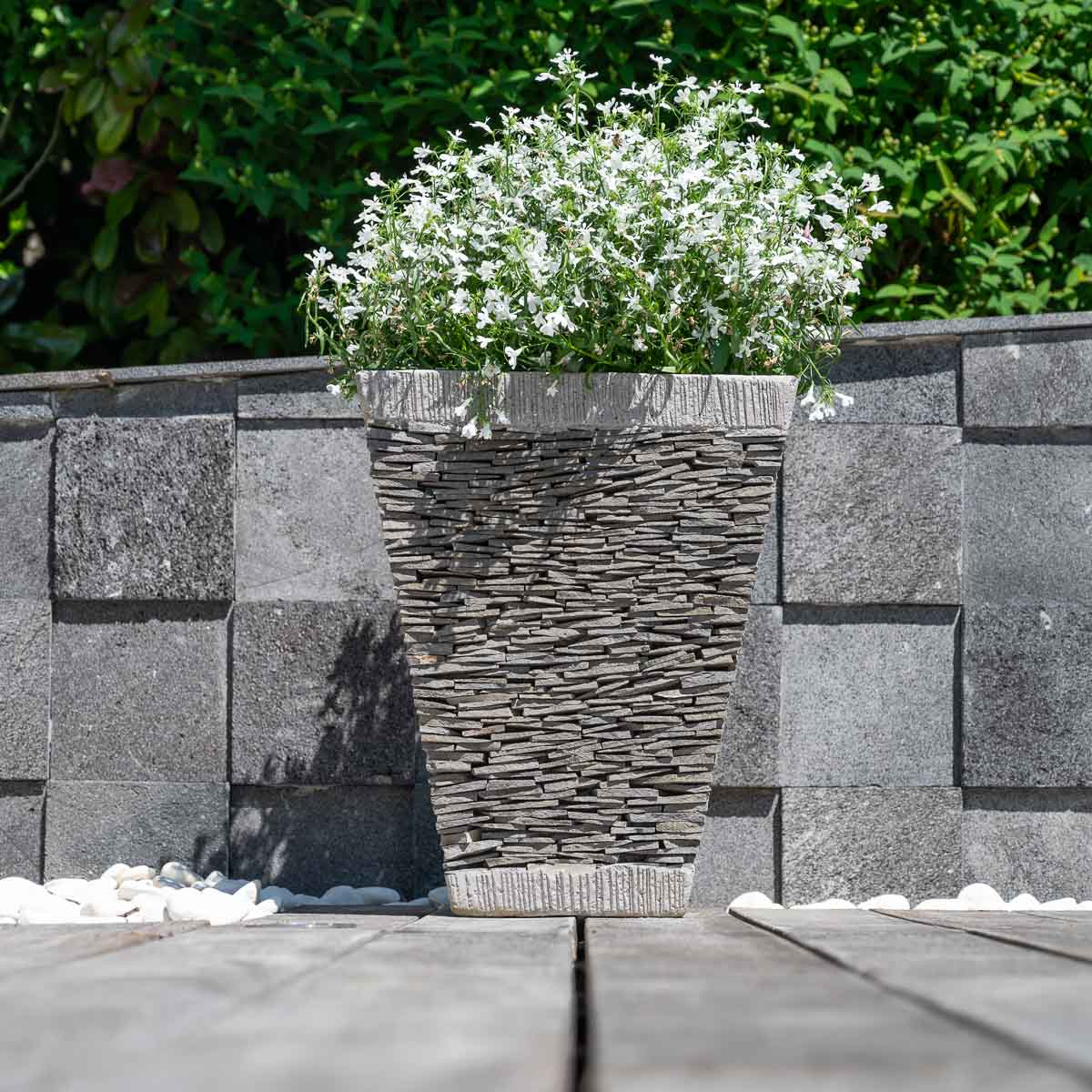 Pot bac jardini re carr ardoise hauteur 50cm pierre naturelle for Jardiniere hauteur 1 metre