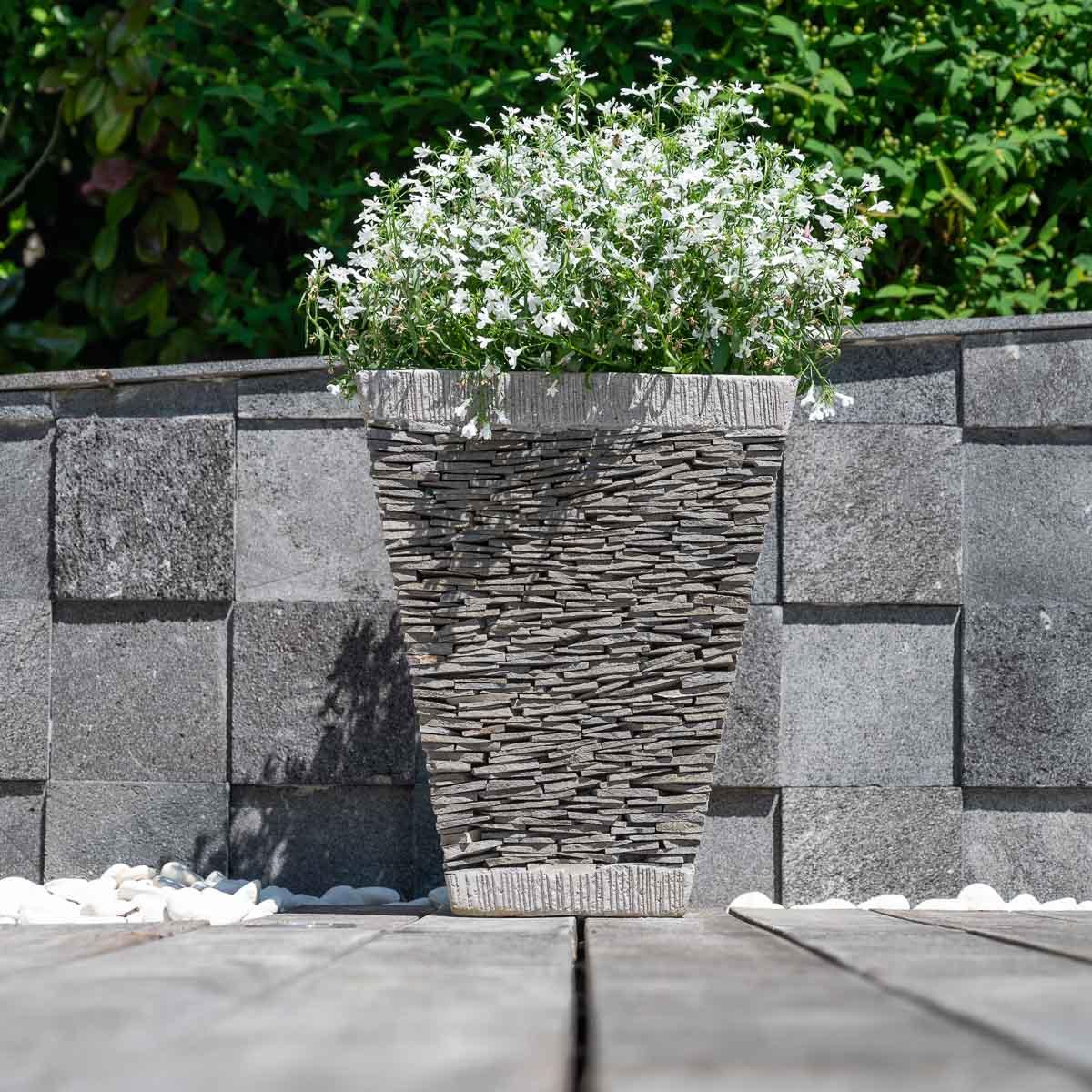 Pot de jardin en ardoise carr naturel h 50 cm - Jardiniere interieur ...