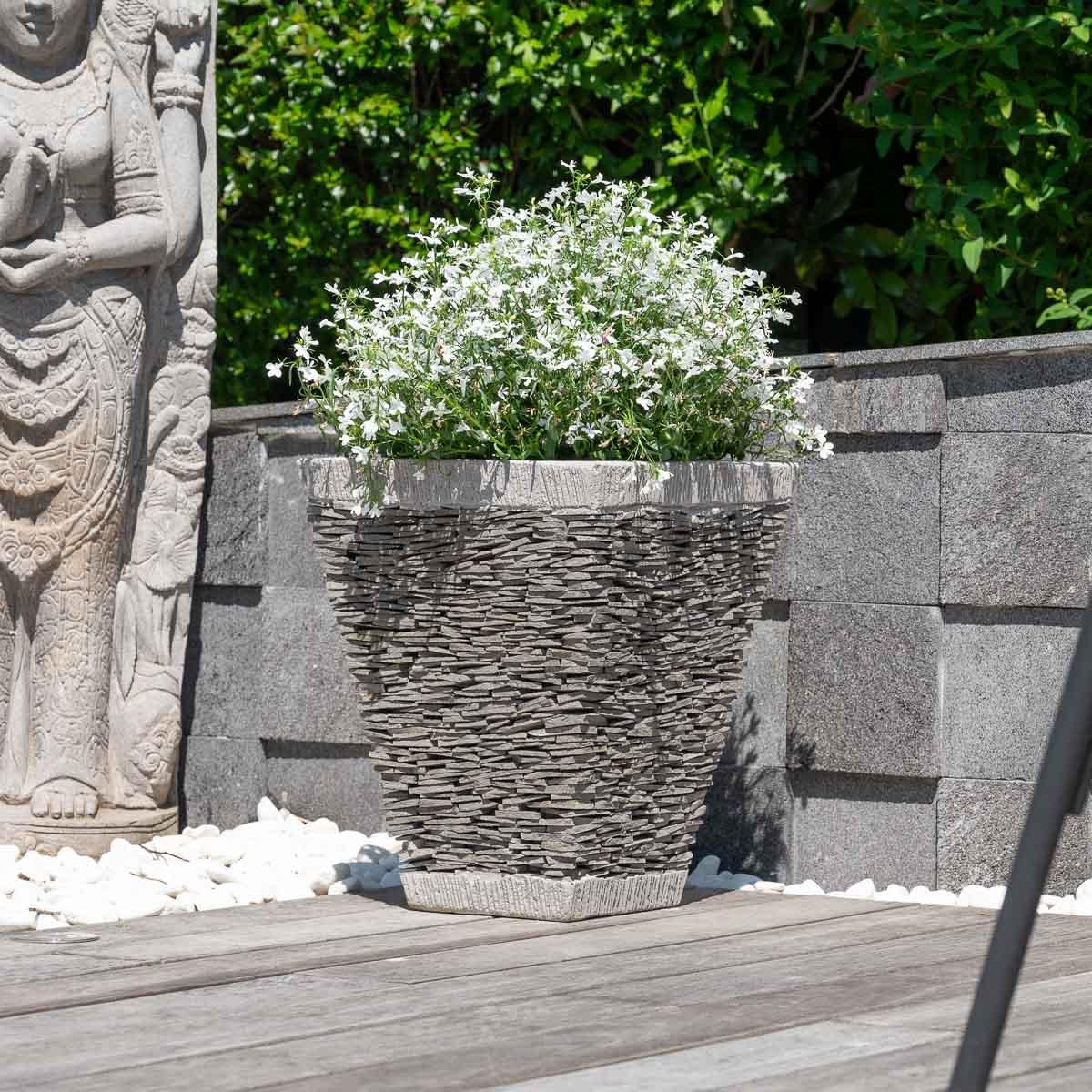 pot de jardin en ardoise carr naturel h 50 cm. Black Bedroom Furniture Sets. Home Design Ideas
