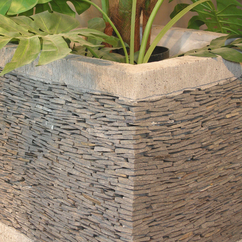 pot bac jardini re carr cube ardoise 50cm jardin terrasse. Black Bedroom Furniture Sets. Home Design Ideas