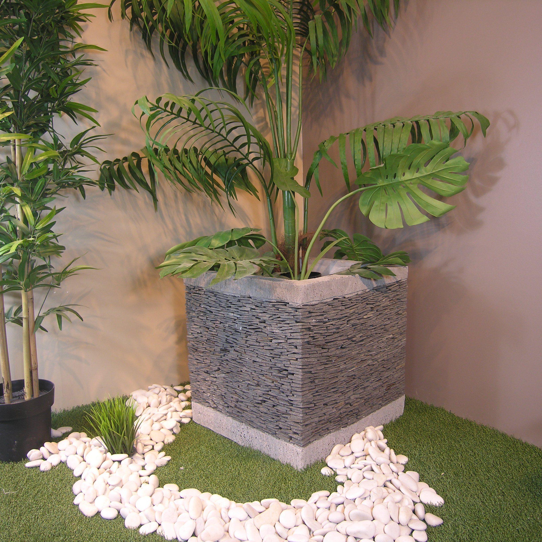 Pot de jardin en ardoise cube naturel h 50 cm for Decoration exterieur jardin zen pierre