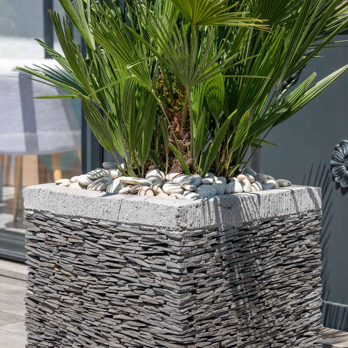 Pot de jardin en ardoise cube naturel h 50 cm for Objet deco de jardin