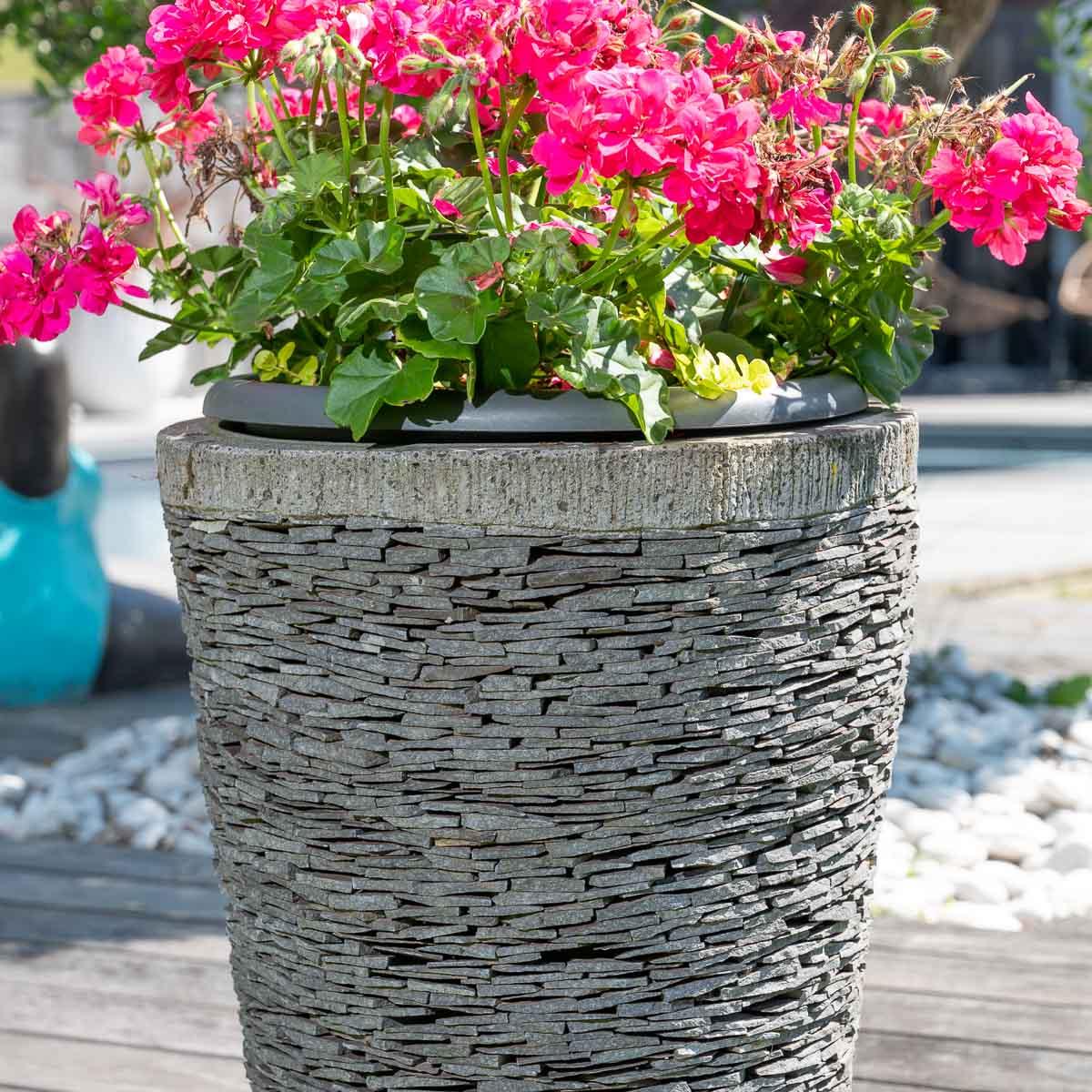 Pot de jardin en ardoise conique naturel h 50 cm for Jardin en bac