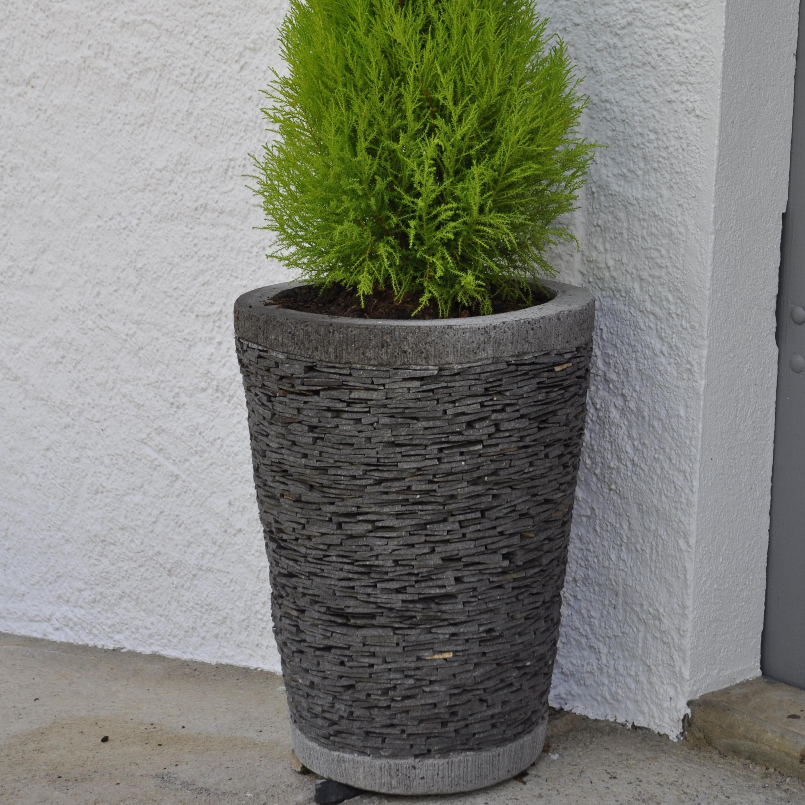 Pot de jardin en ardoise conique naturel h 50 cm - Pot de decoration exterieur ...