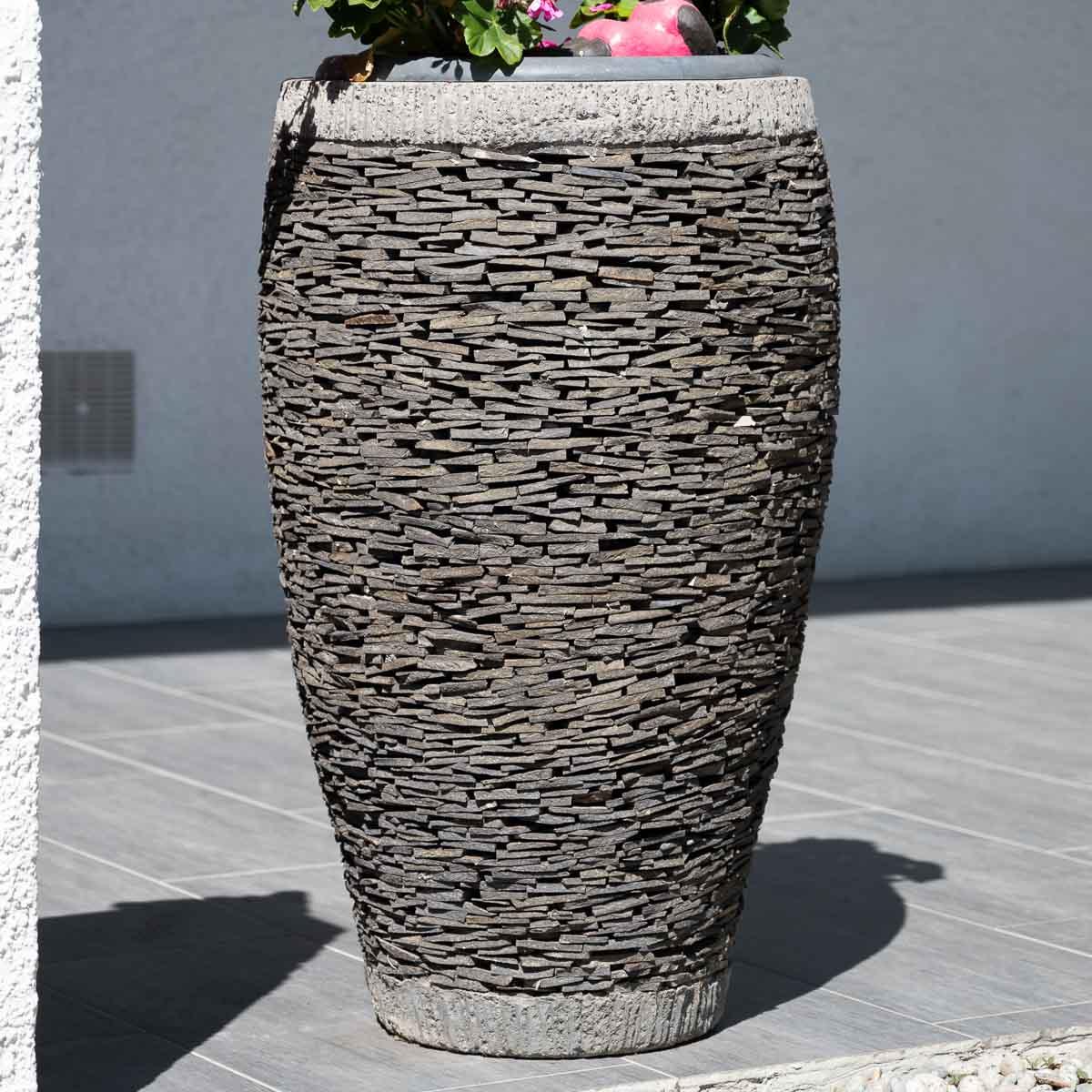 Pot de jardin en ardoise uf naturel h 80 cm for Jardiniere vasque jardin