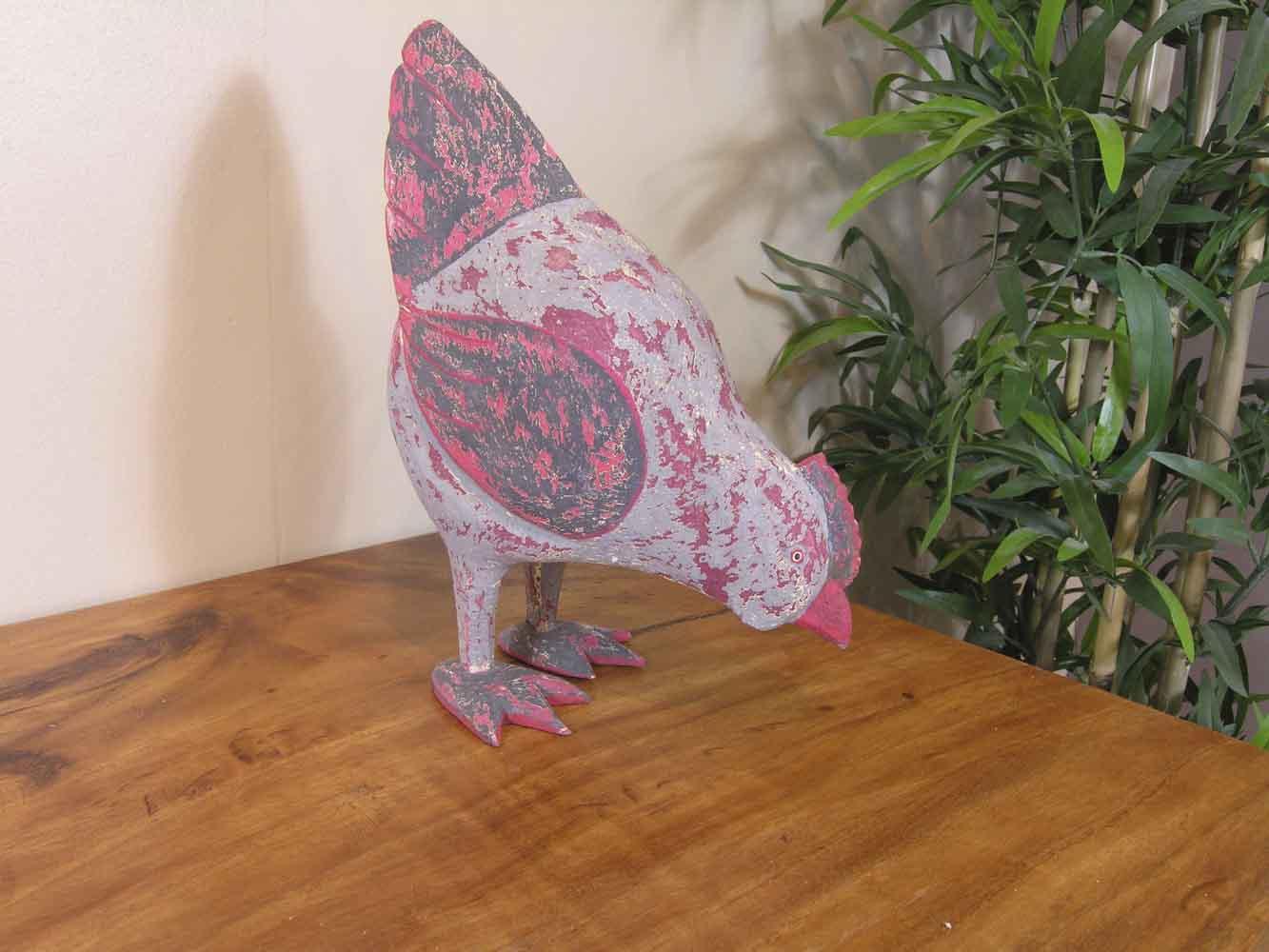 objet d co poule bois patin c rus gris rouge 24 cm. Black Bedroom Furniture Sets. Home Design Ideas