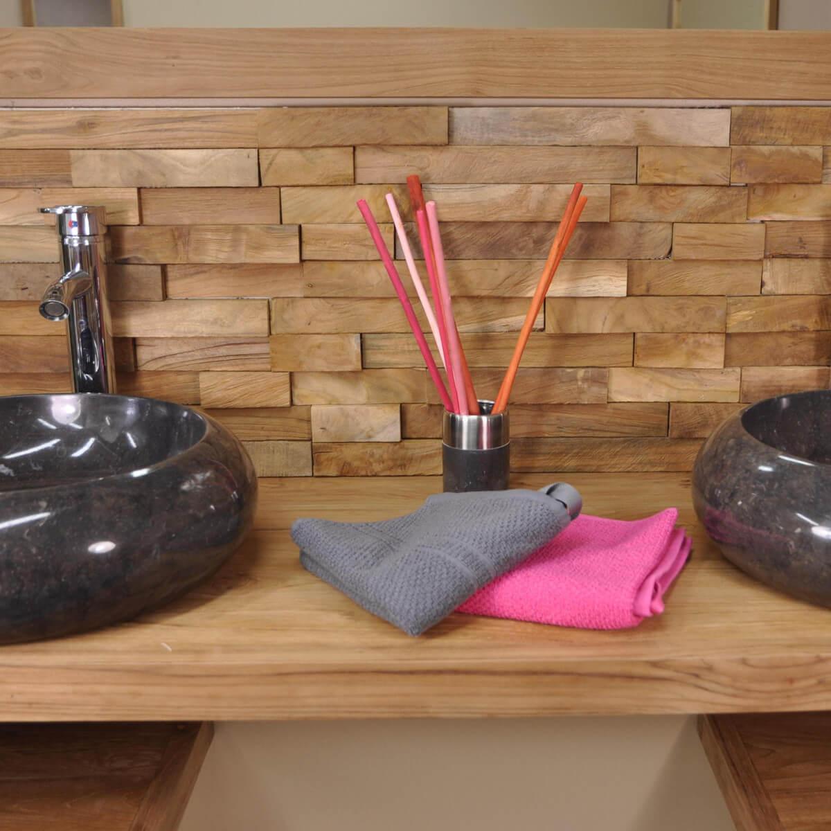 parement de salle de bain rev tement de mur en bois teck recycl naturel d 20 cm x 50 cm. Black Bedroom Furniture Sets. Home Design Ideas