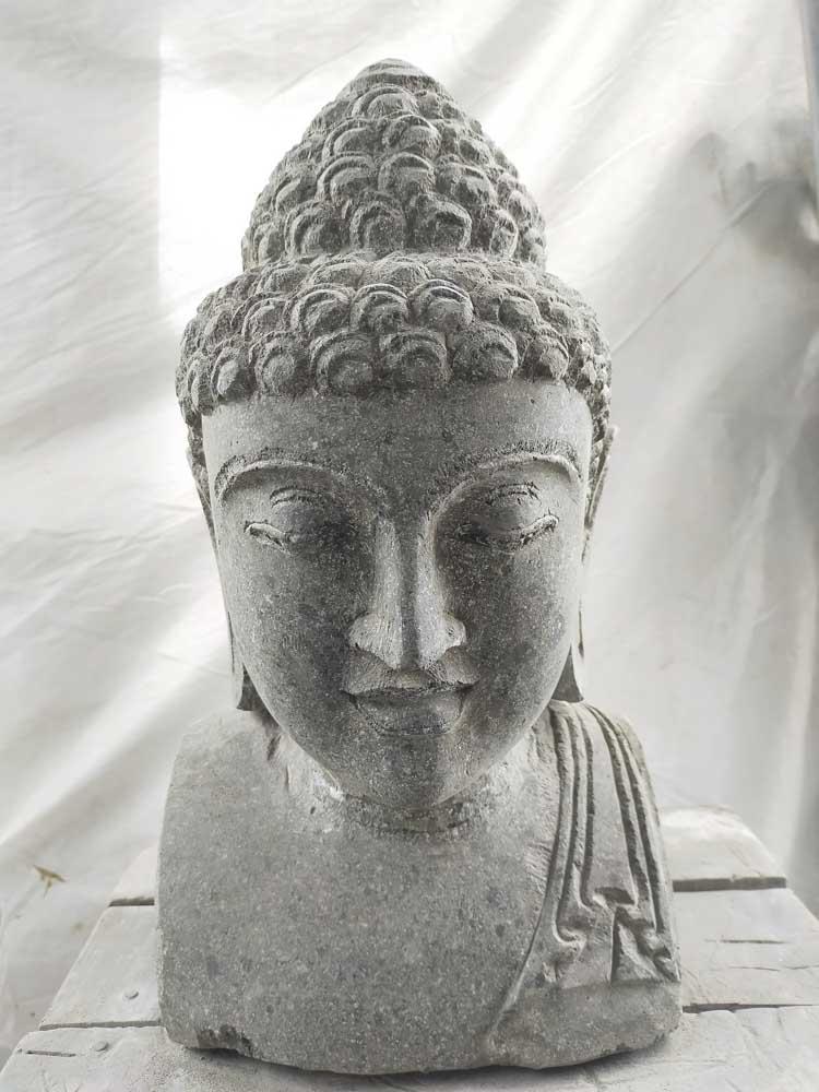 Statue Buste De Bouddha En Pierre Volcanique 40 Cm Jardin