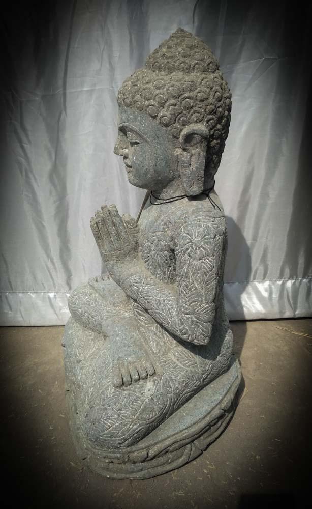statue de bouddha assis en pierre position pri re 50 cm. Black Bedroom Furniture Sets. Home Design Ideas