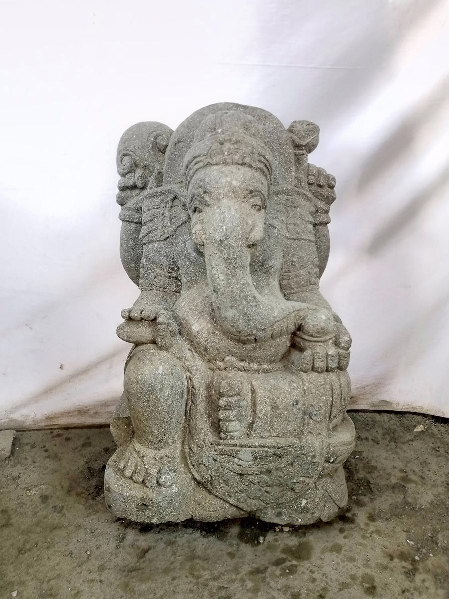statue de ganesh en pierre de jardin 50 cm. Black Bedroom Furniture Sets. Home Design Ideas