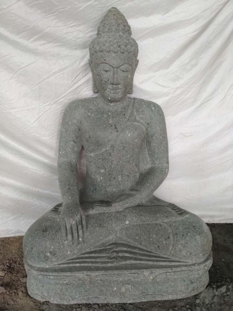 statue de jardin bouddha pierre position offrande 1m01. Black Bedroom Furniture Sets. Home Design Ideas