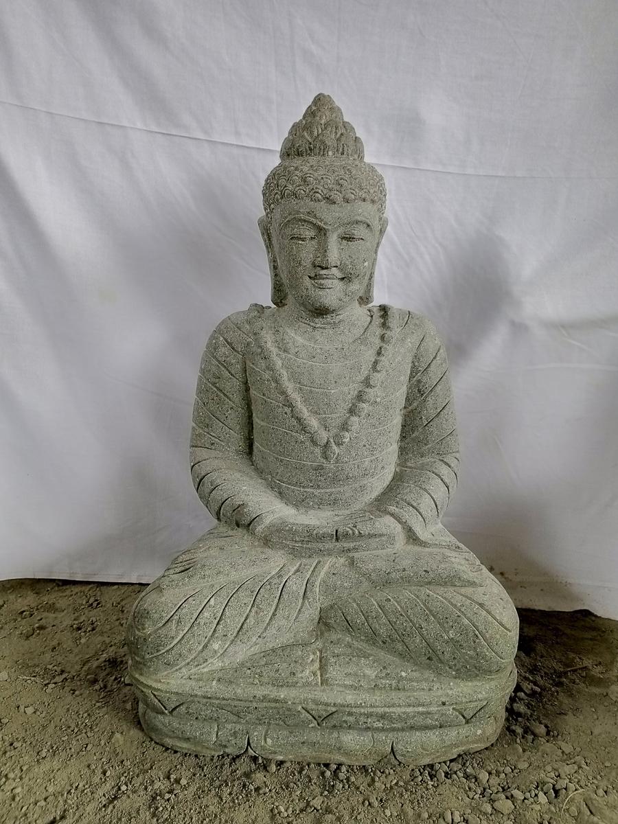 Statue de jardin bouddha en pierre position offrande 80 cm for Statue de jardin en pierre