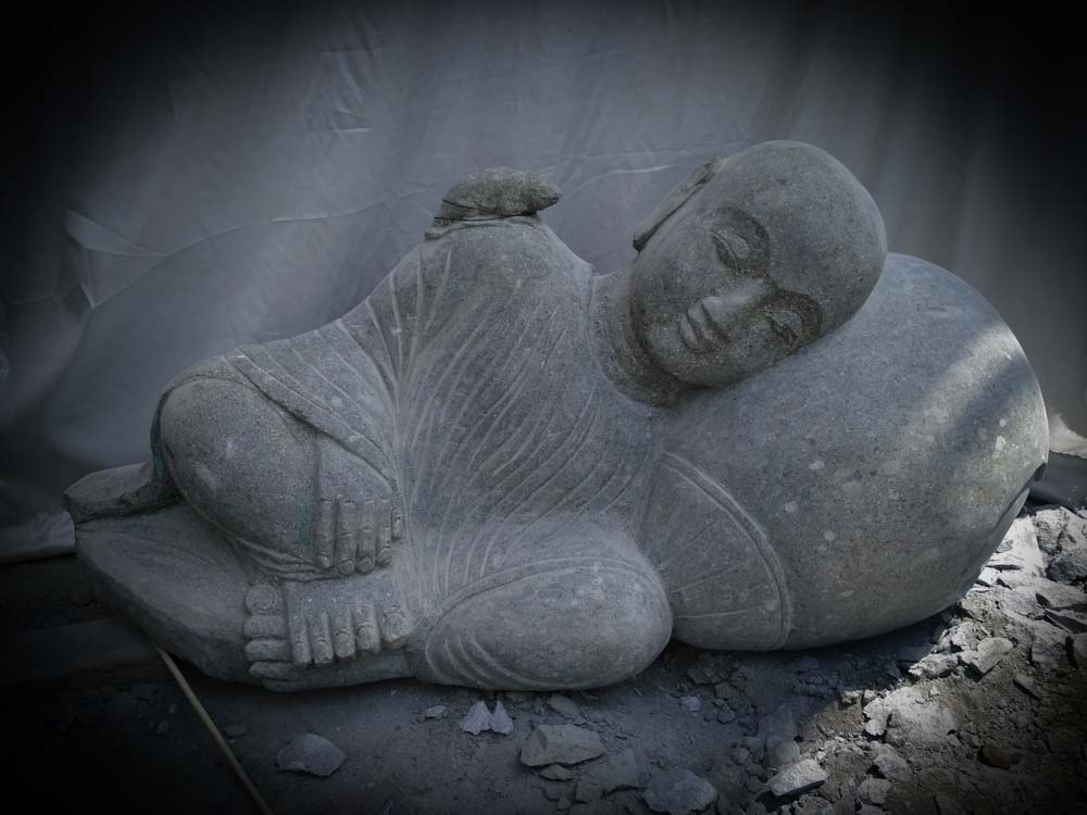 neuf statue de jardin moine shaolin ext rieur zen en pierre naturelle 100 cm ebay. Black Bedroom Furniture Sets. Home Design Ideas