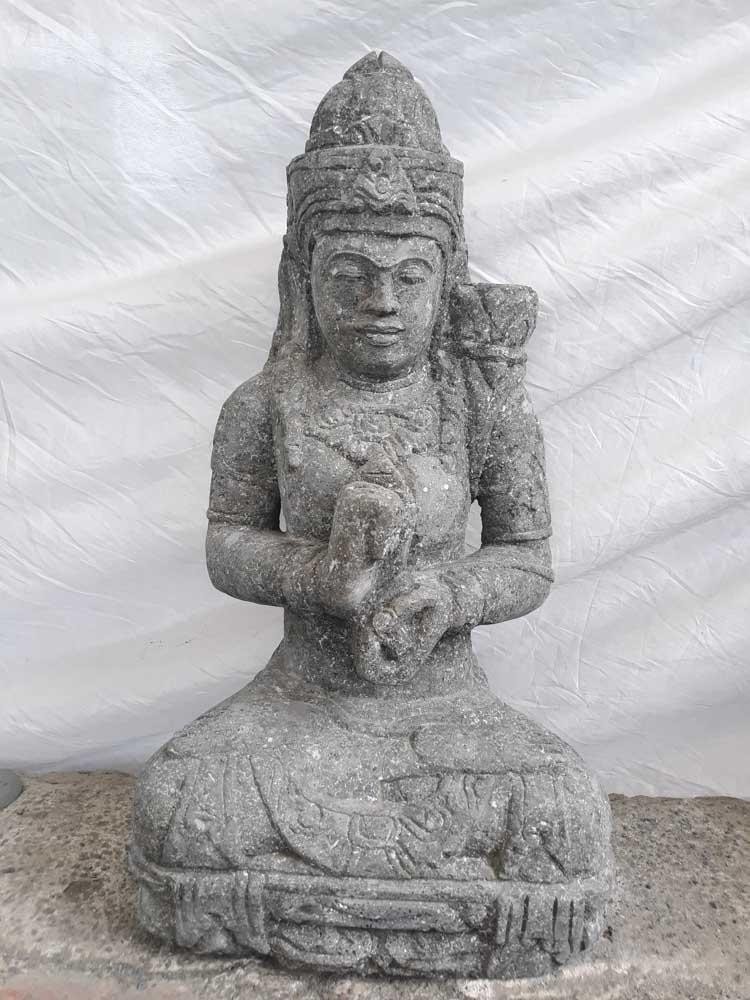 Statue d esse assise en pierre jardin zen fleur 80 cm Statue jardin zen