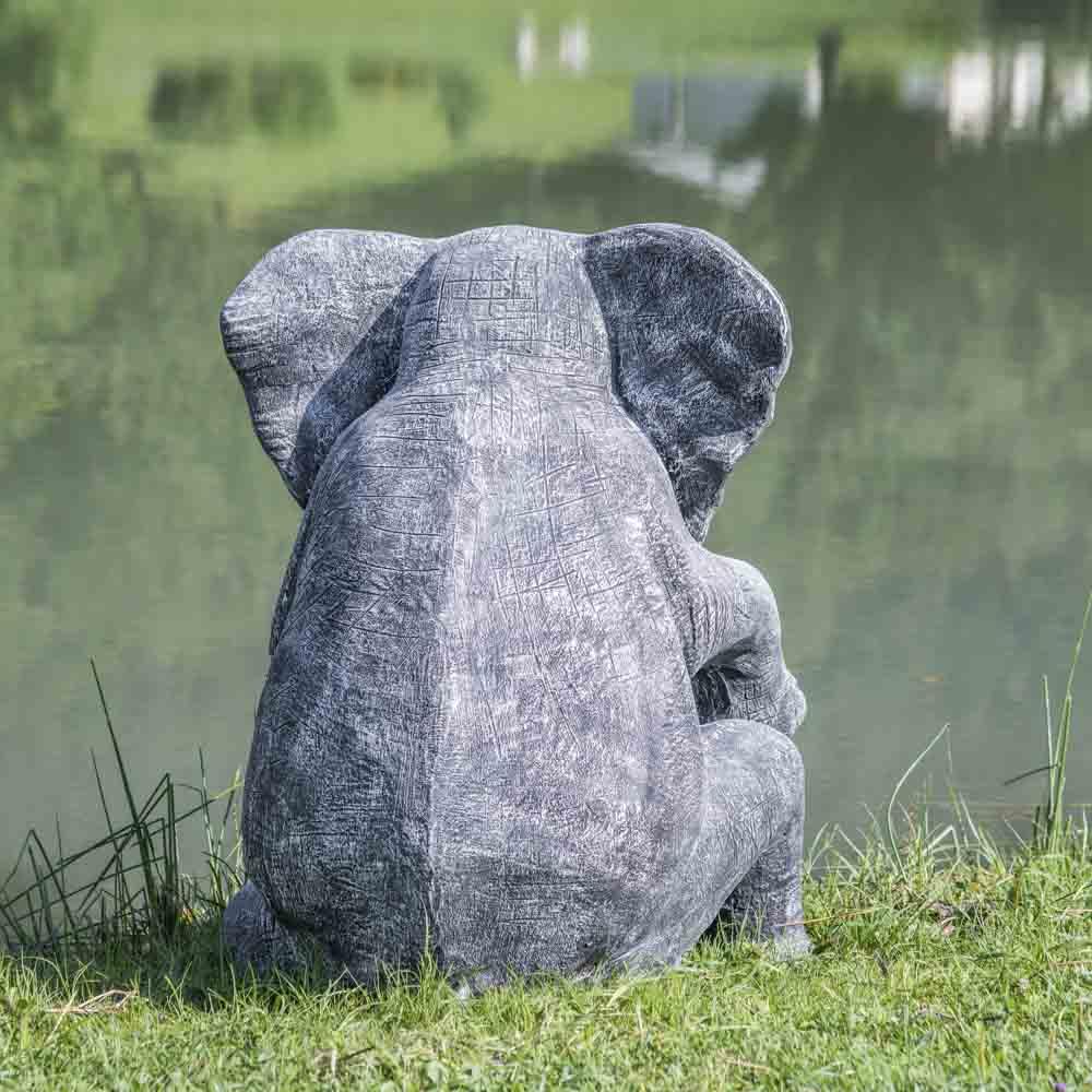 statue l phant patin noir gris assis 95 cm. Black Bedroom Furniture Sets. Home Design Ideas