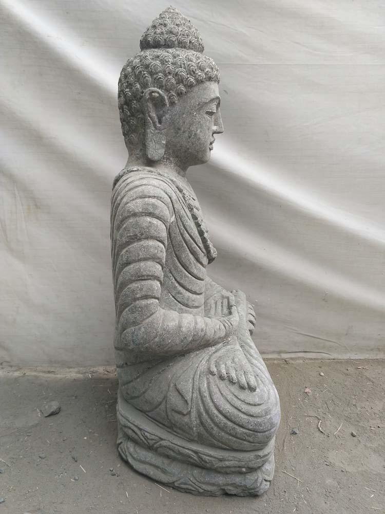 statue en pierre bouddha assis jardin ext rieur collier 80 cm. Black Bedroom Furniture Sets. Home Design Ideas