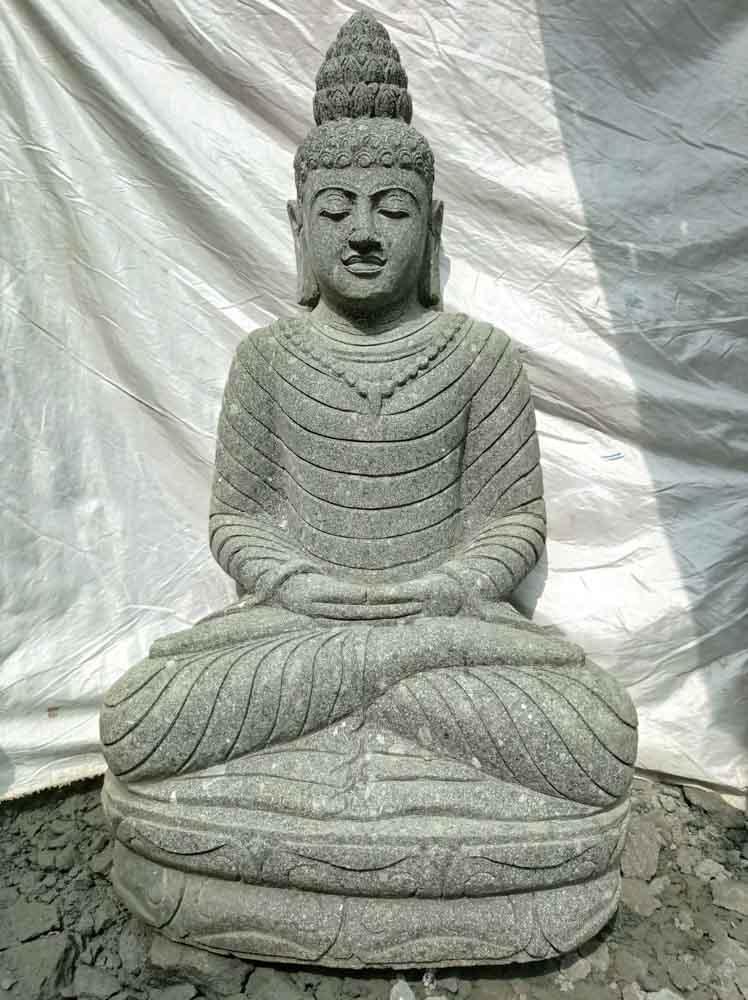 Statue En Pierre Volcanique Collier D Co Zen De Jardin 1m20