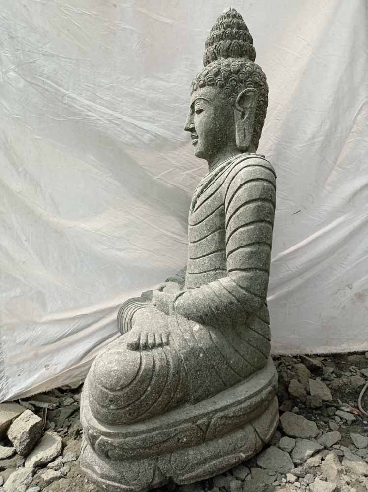 Statue en pierre volcanique collier d co zen de jardin 1m20 - Grande statue decoration interieur ...