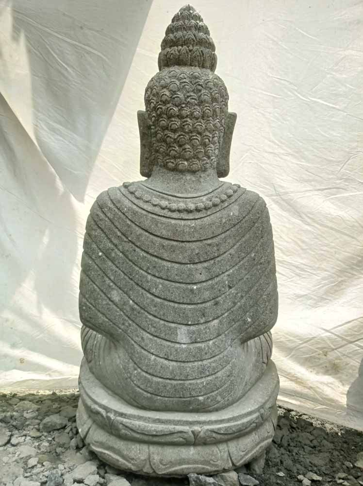 Statue en pierre volcanique collier d co zen de jardin 1m20 for Statue jardin zen