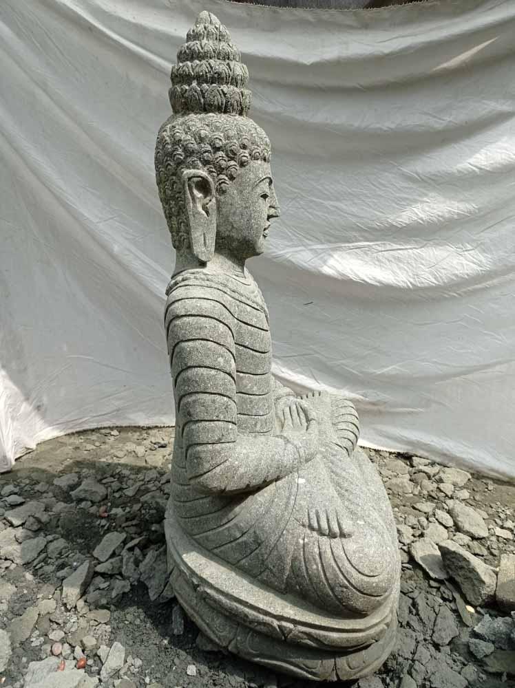 Statue en pierre volcanique collier d co zen de jardin 1m20 for Pierre de decoration de jardin