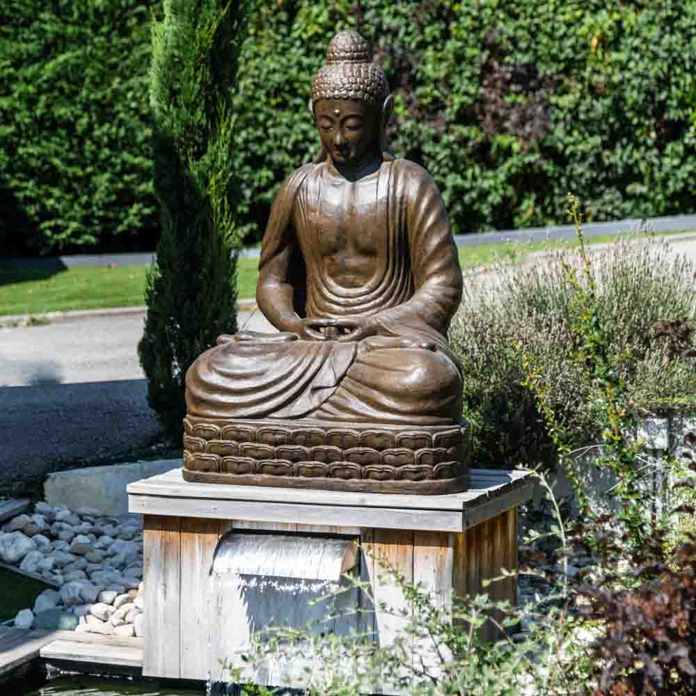 statue jardin bouddha assis en fibre de verre position chakra 150 cm brun. Black Bedroom Furniture Sets. Home Design Ideas