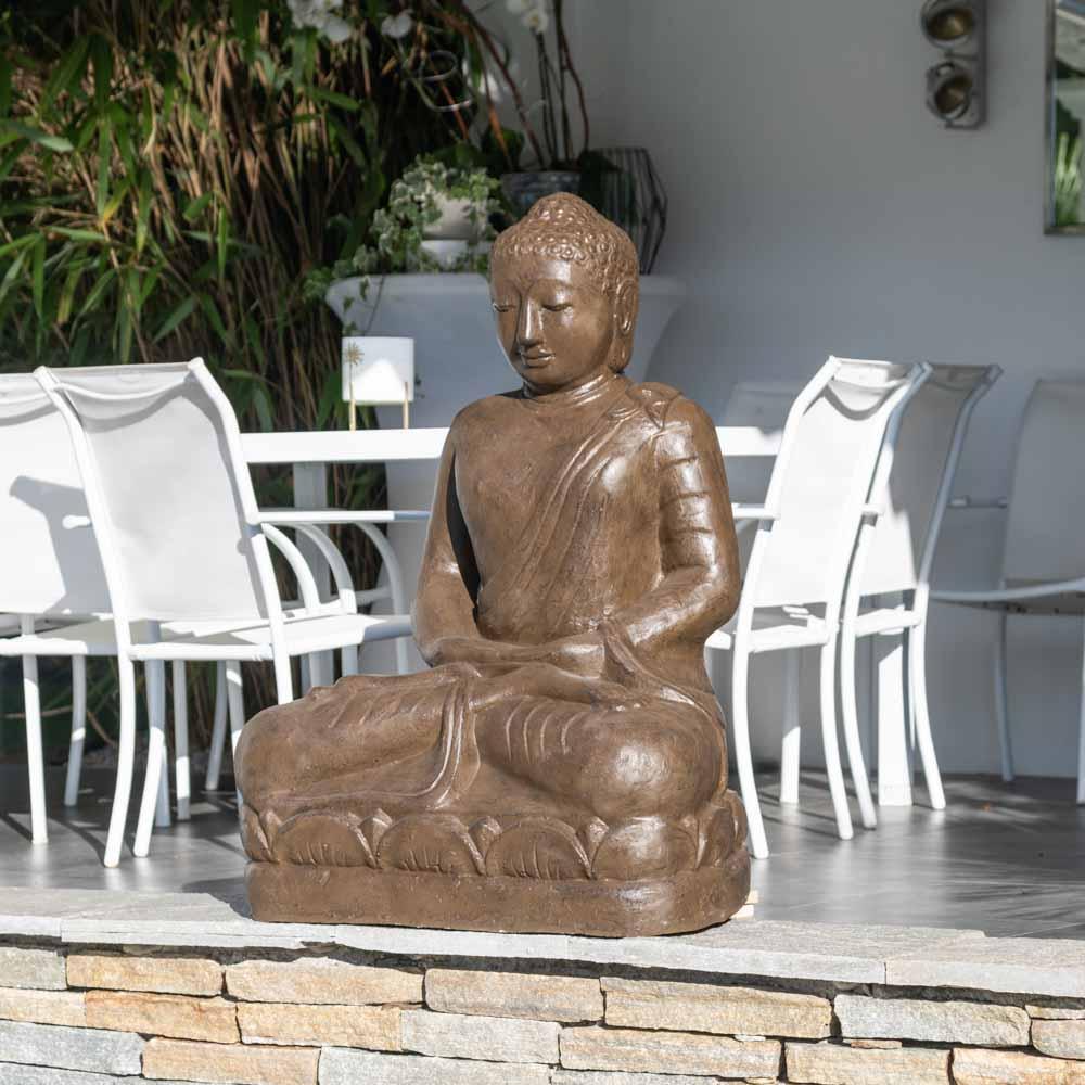 Statue jardin bouddha assis en fibre position offrande 105 - Statue bouddha pour jardin ...